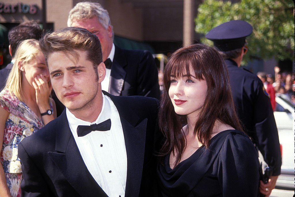Jason Priestly and Shannen Doherty at the 1991 Emmy Awards on September 01, 1991   Photo: Getty Images