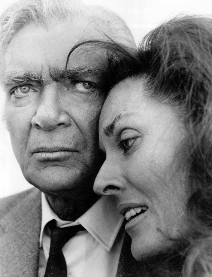 """Publicity photo of Buddy Ebsen and Lee Meriwether on """"Barnaby Jones"""" circa March 1973 