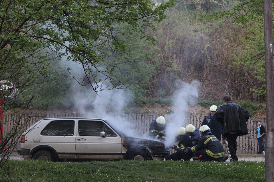 Firemen at the site of a car accident.   Photo: Pixabay