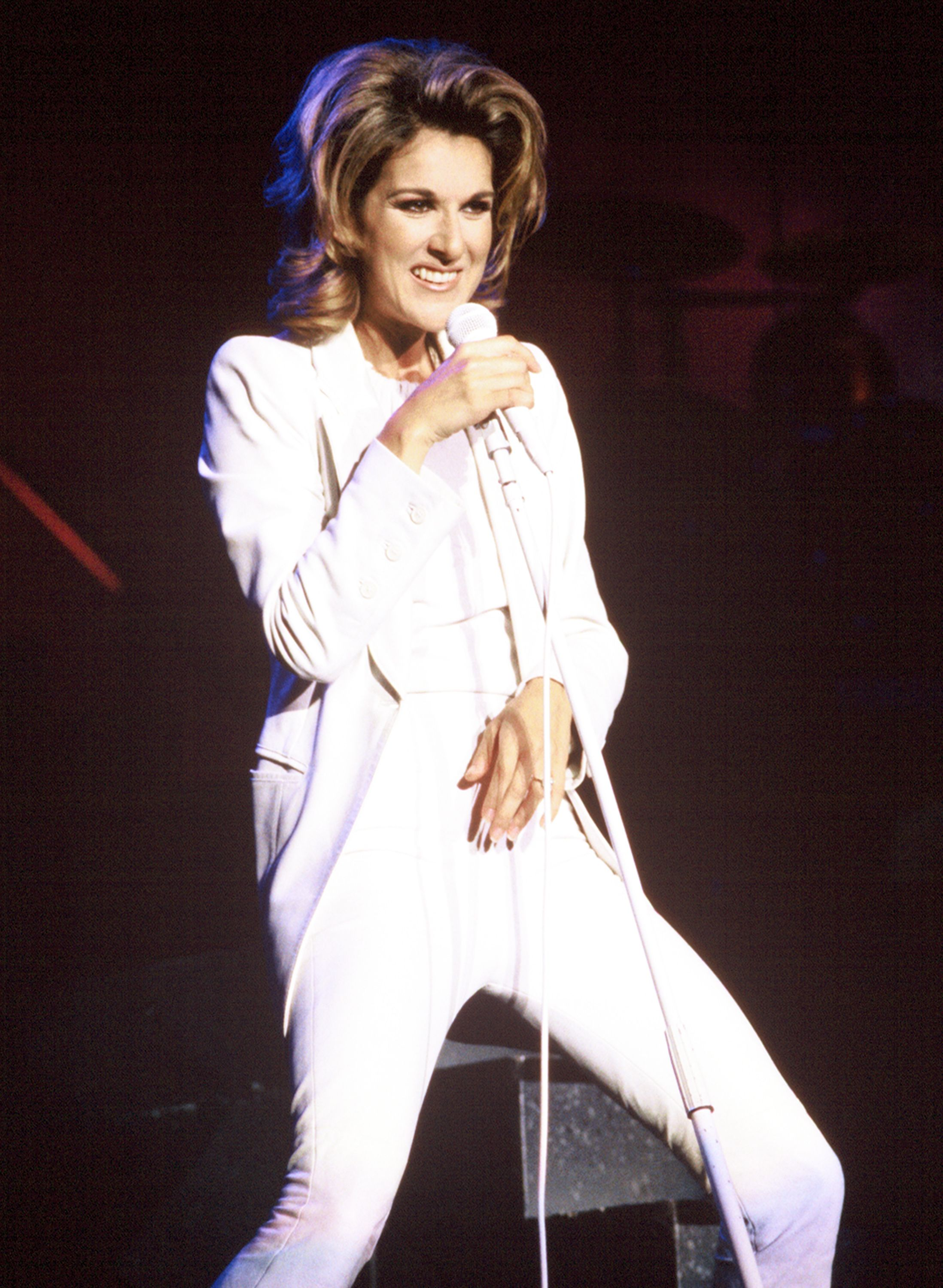 Celine Dion performs at Shoreline Amphitheater in Mountain View, California in 1996   Source: Getty Images