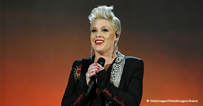 Pink Filmed on Hands and Knees Cleaning Her Hollywood 'Walk of Fame' Star