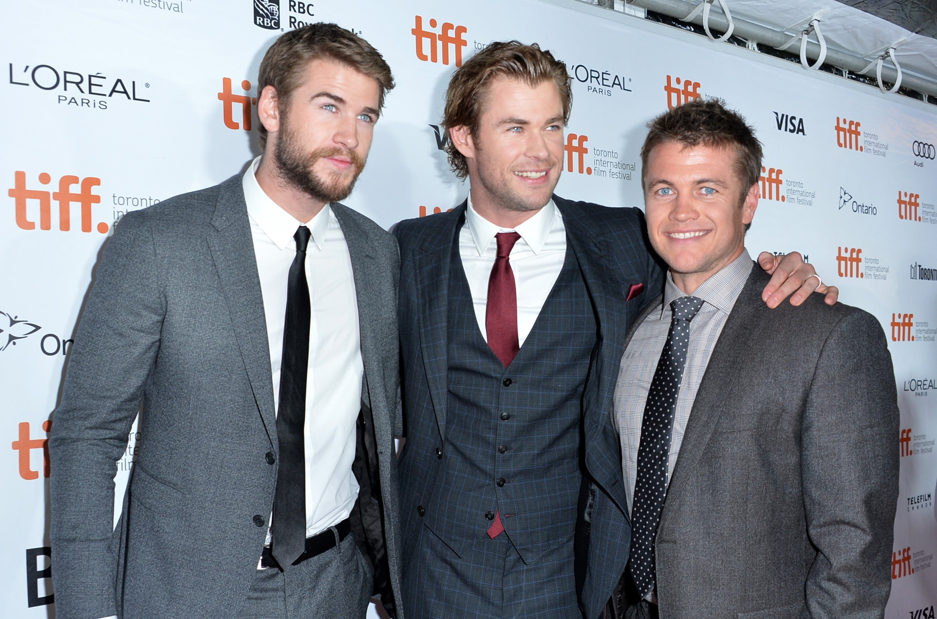 """Liam,Chris and Luke Hemsworth attend the """"Rush"""" premiere during the 2013 Toronto International Film Festival at Roy Thomson Hall on September 8, 2013, in Toronto, Canada. 
