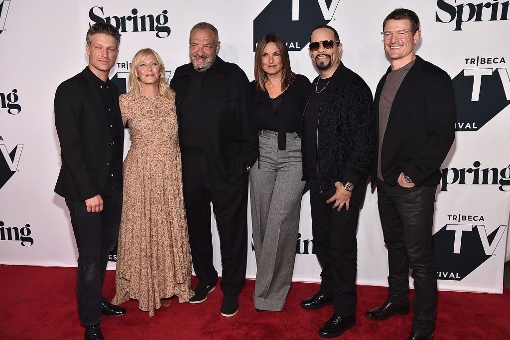 "Peter Scanavino, Kelli Giddish, Dick Wolf, Mariska Hargitay, Ice-T, Philip Winchester attends the ""Law & Order: SVU"" 20th Anniversary Celebration the 2018 Tribeca TV Festival at Spring Studios  