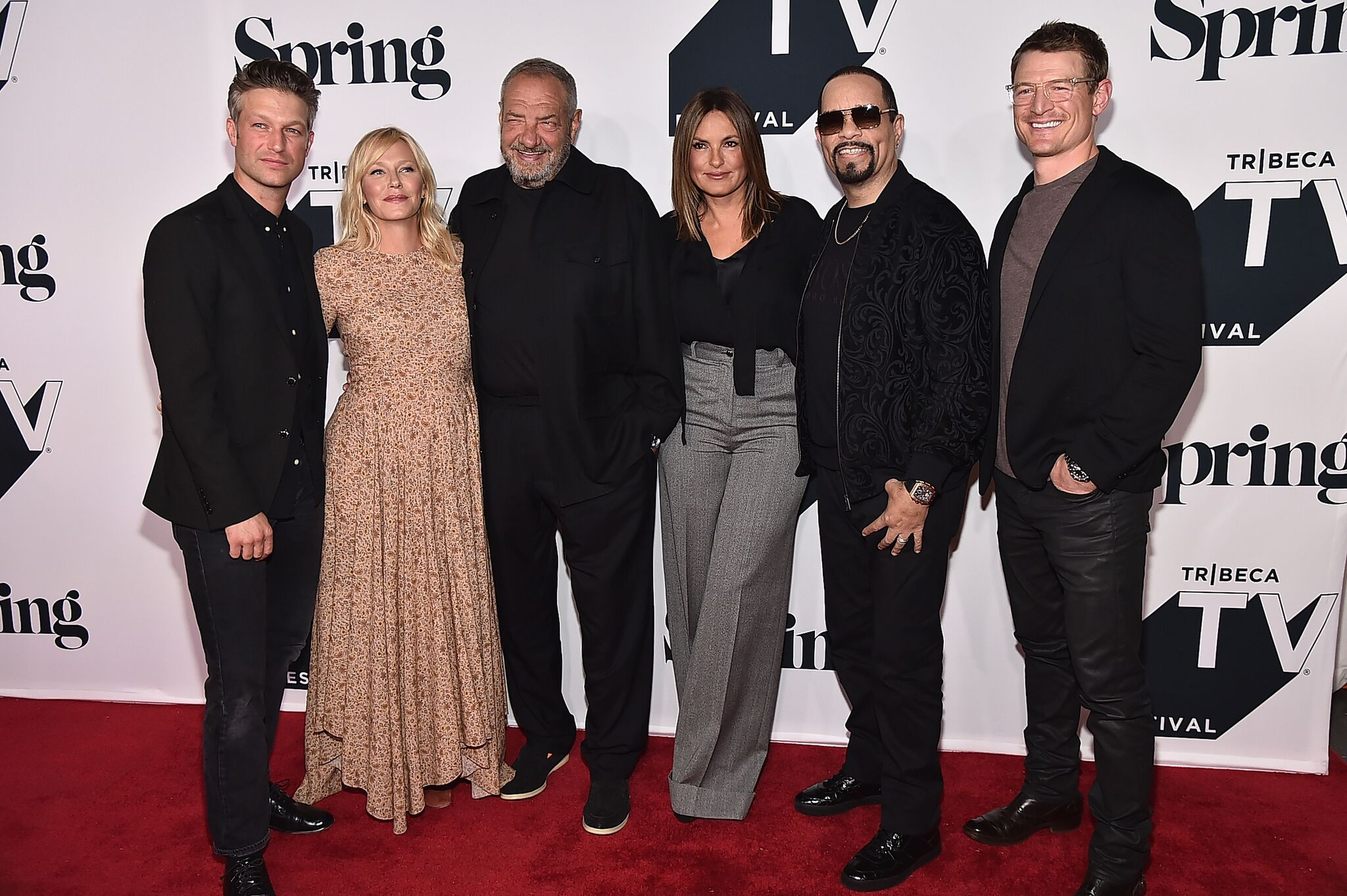 "Peter Scanavino, Kelli Giddish, Dick Wolf, Mariska Hargitay, Ice-T, Philip Winchester attends the ""Law & Order: SVU"" 20th Anniversary Celebration the 2018 Tribeca TV Festival 