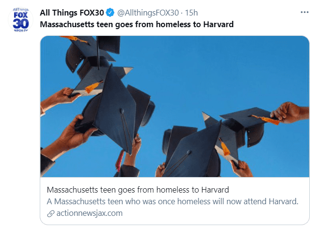 A group of graduates celebrates together out in the open in an image about Imani Fonfield's acceptance into Harvard University in June 2021| Photo: Twitter/@AllthingsFOX30