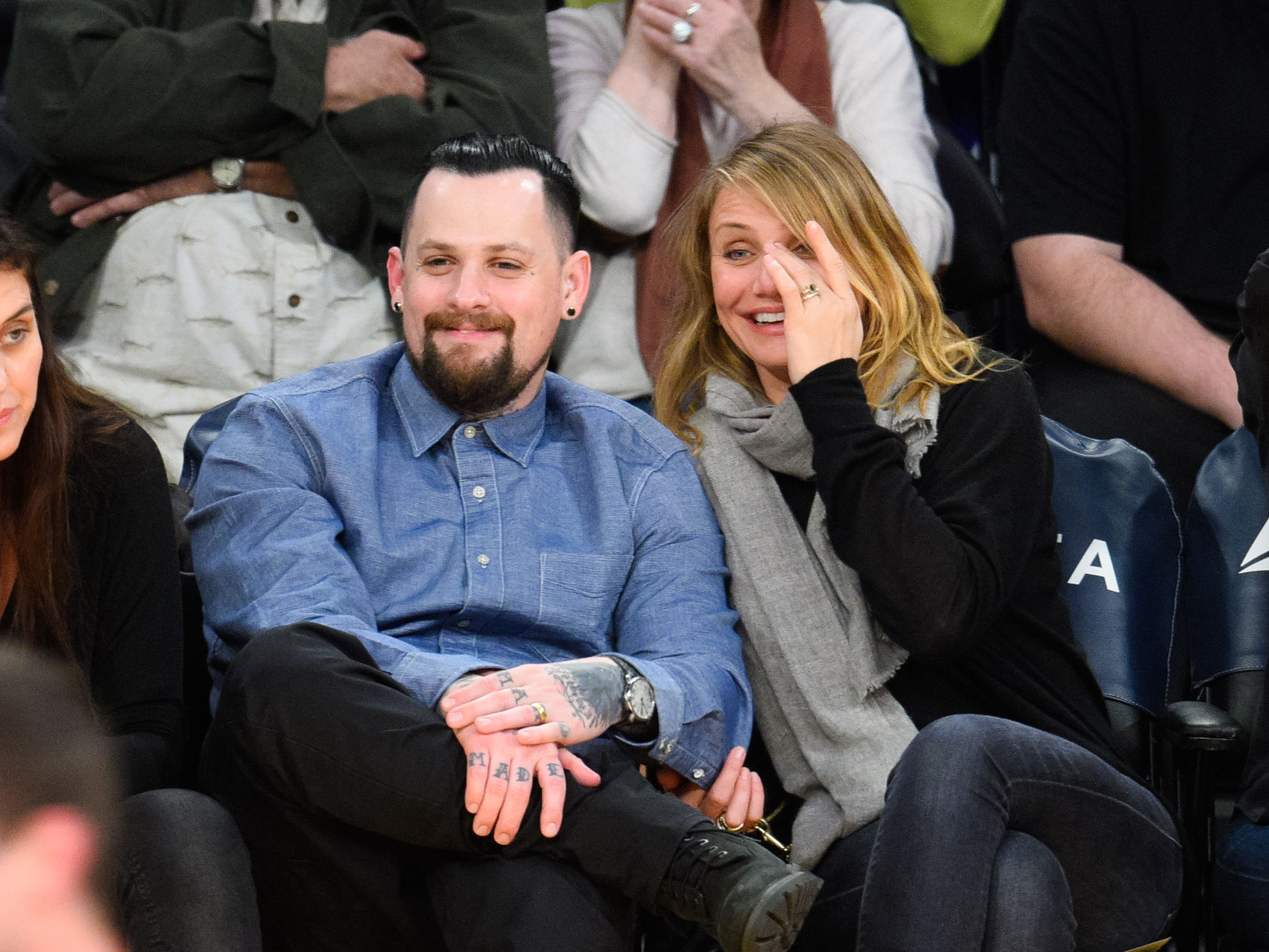 Benji Madden and Cameron Diaz at a basketball game held at Staples Center on January 27, 2015, in Los Angeles, California   Photo: Noel Vasquez/GC Images/Getty Images