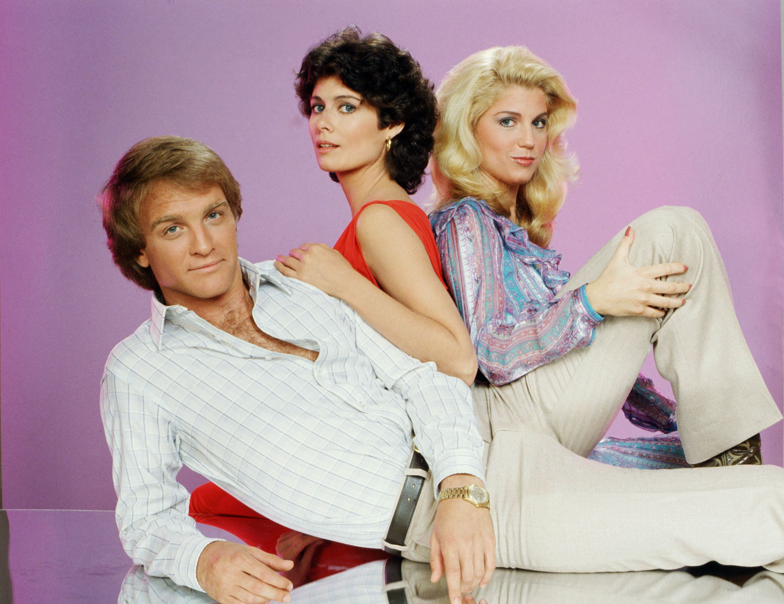 """""""The Young and the Restless"""" poster featuring Terry Lester as Jack Abbott, Deborah Adair as Jill Foster Abbott and Lilibet Stern as Patty Williams, 1980. 