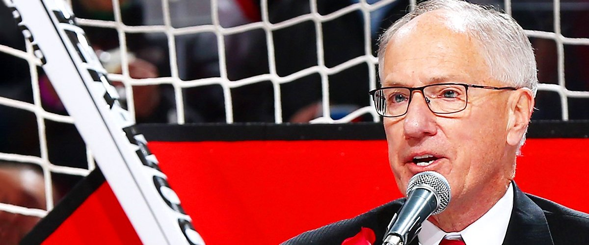 "Mike ""Doc"" Emrick addresses the crowd at the Prudential Center on February 9, 2016 in Newark 