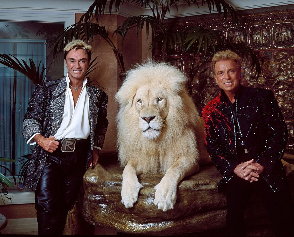 Illusionists Siegfried Roy posing with one of their white lions at their private apartment at the Mirage Hotel on the Vegas Strip in Las Vegas, Nevada   Photo: Carol M. Highsmith/Buyenlarge/Getty Images