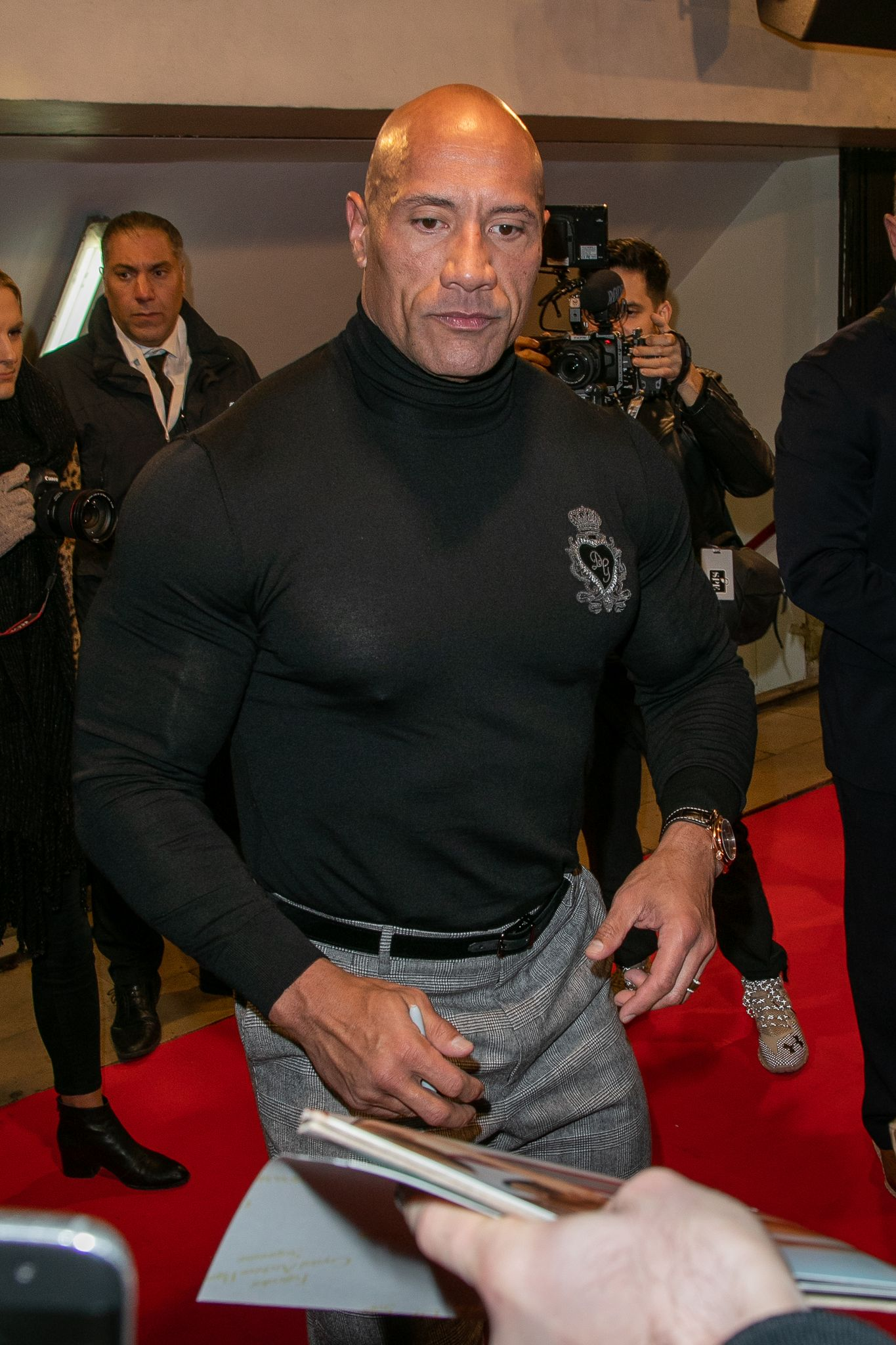 """Dwayne """"The Rock"""" Johnson at the """"Jumanji"""" premiere on December 03, 2019, in France. 