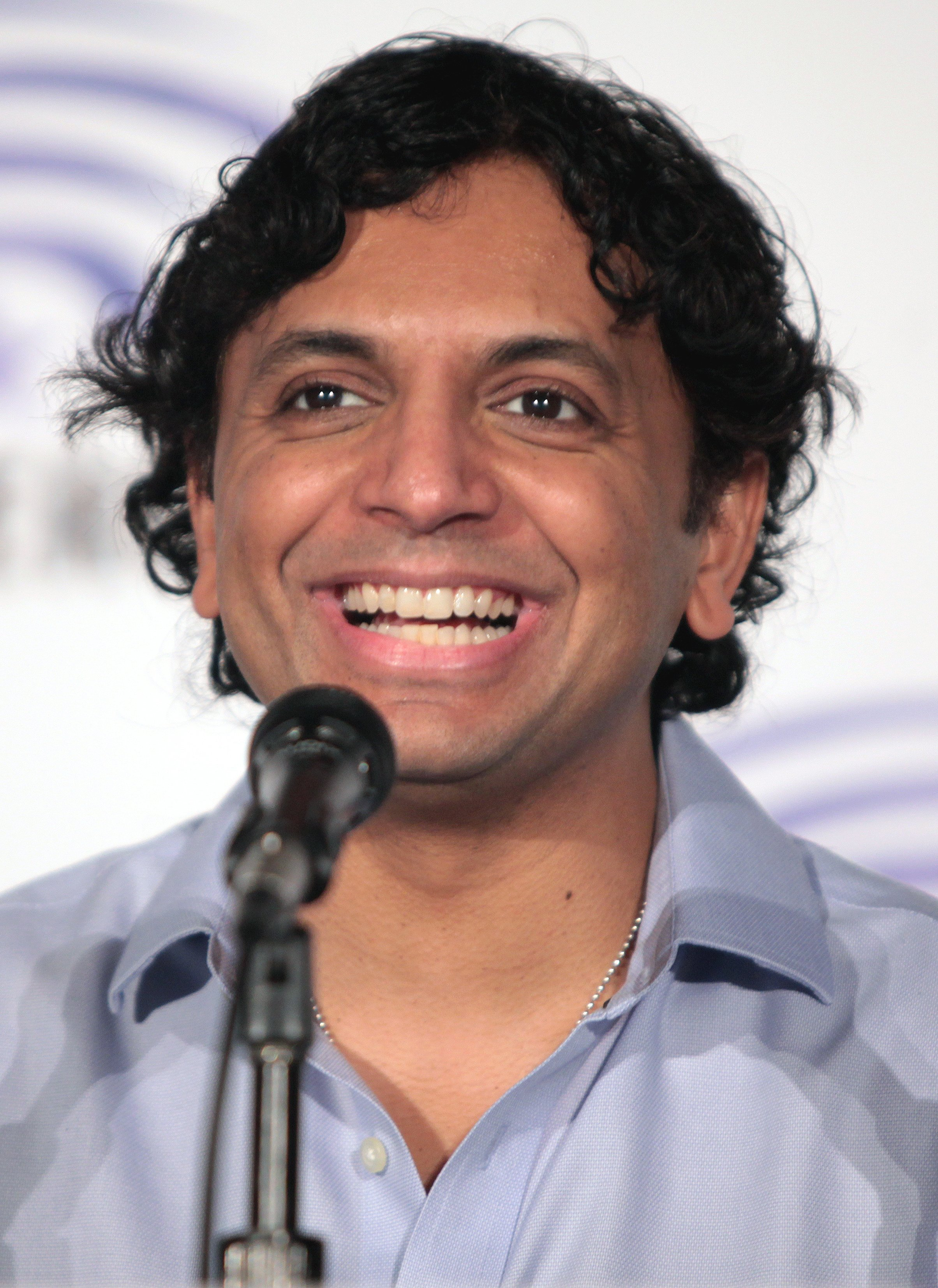 M. Night Shyamalan speaking at the 2016 WonderCon in Los Angeles, California. | Getty Images