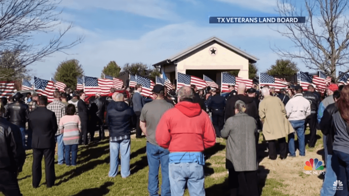 People attending Joseph Walker's funeral at the Central Texas State Veterans Cemetery in Killeen, Texas   Source: YouTube/NBC News