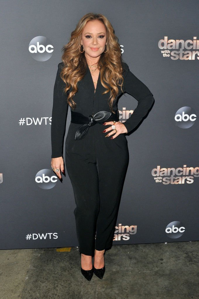 "Leah Remini poses for a photo prior to the ""Dancing With The Stars"" Season 28 show at CBS Television City  