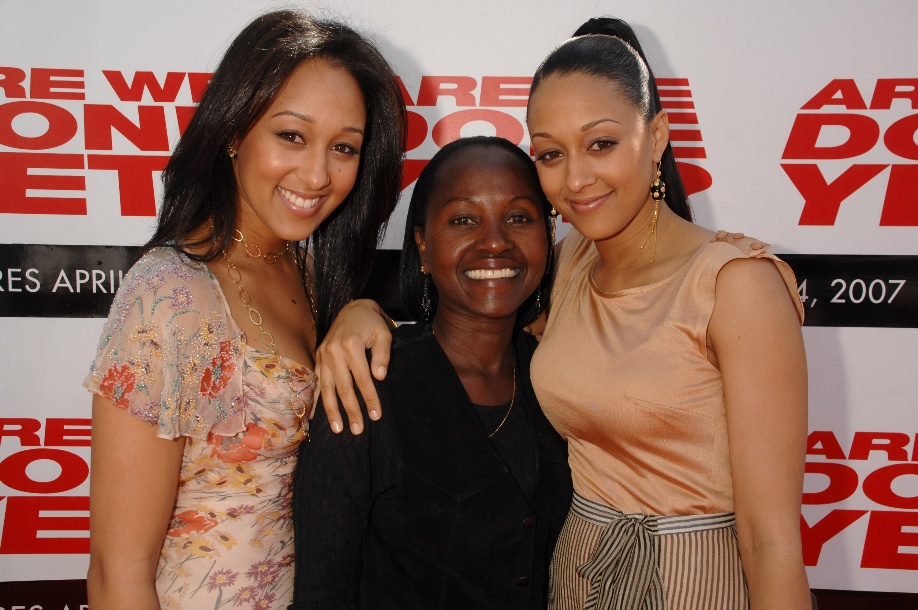 "Tamera Mowry, Darlene Mowry, and Tia Mowry at the red carpet of the ""Are We Done Yet?"" Los Angeles premiere at Mann Village Theater in Westwood on April 01, 2007 