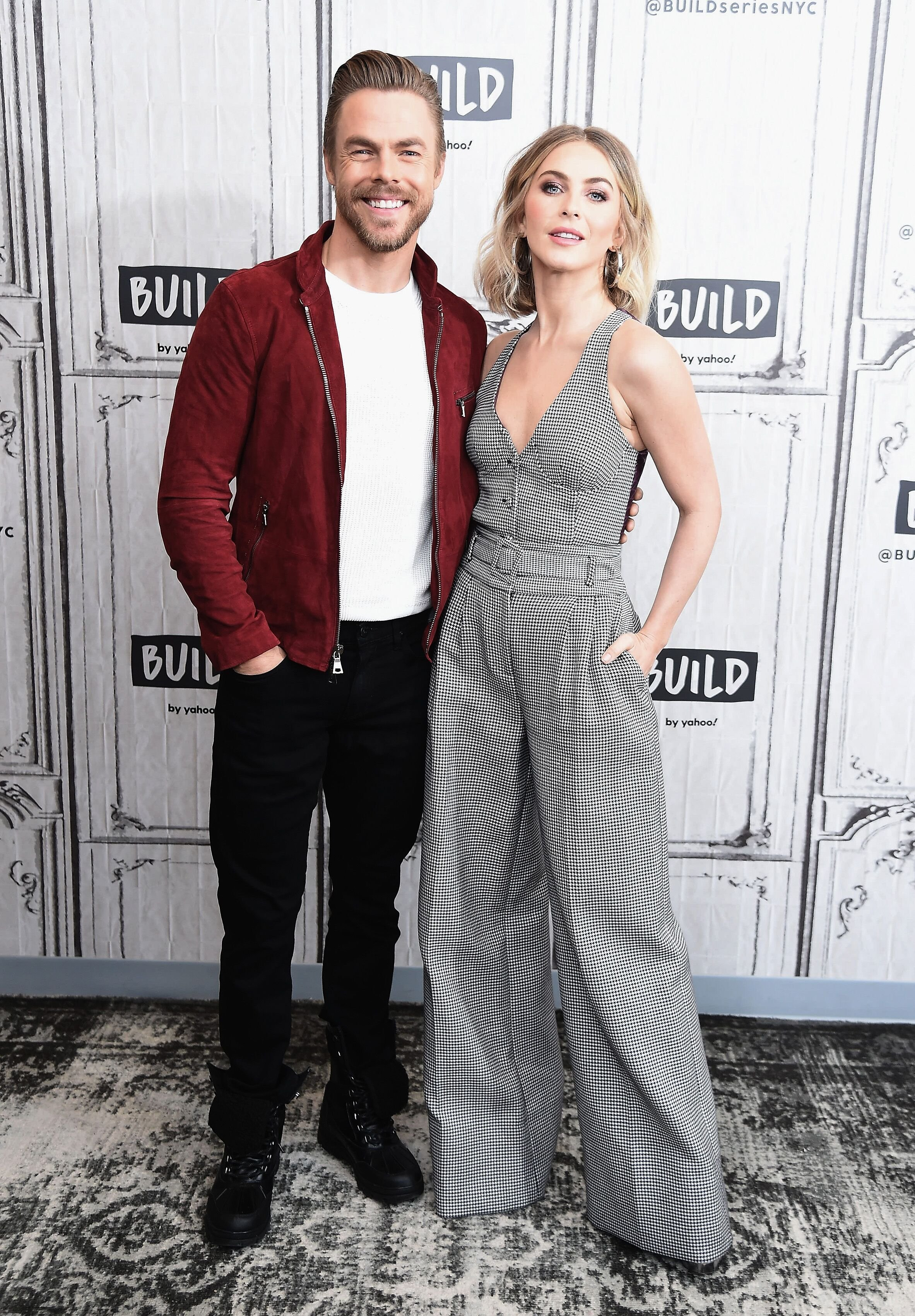 "Derek Hough and Julianne Hough at the Build Series to discuss the NBC special ""Holidays with the Houghs"" in December 2019 in New York 
