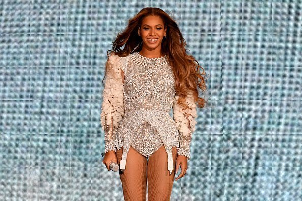 """Beyonce performing onstage during the """"On the Run II"""" Tour at NRG Stadium in Houston, Texas.