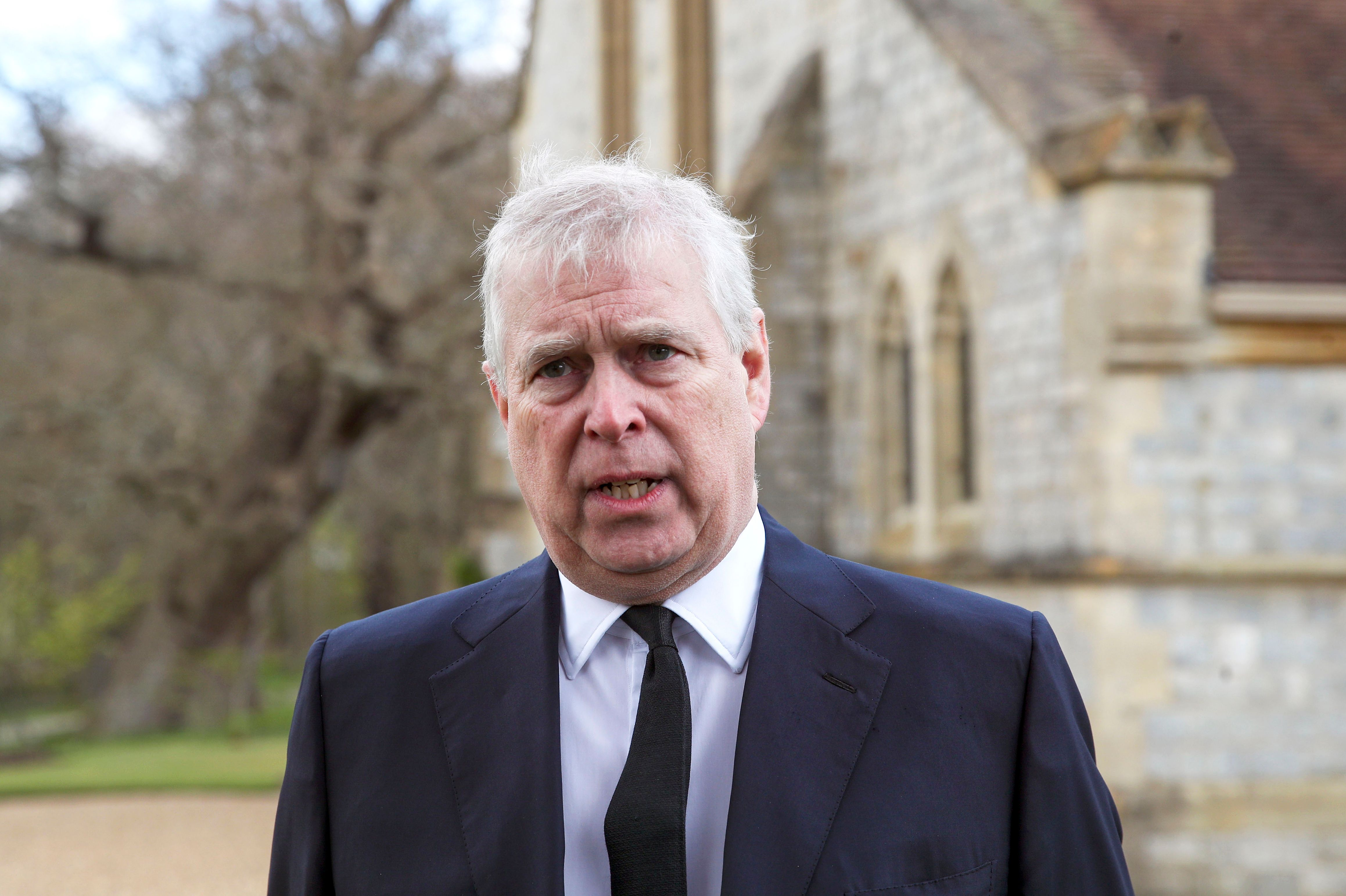 Prince Andrew at the Sunday Service at the Royal Chapel of All Saints, Windsor on April 11, 2021 | Getty Images