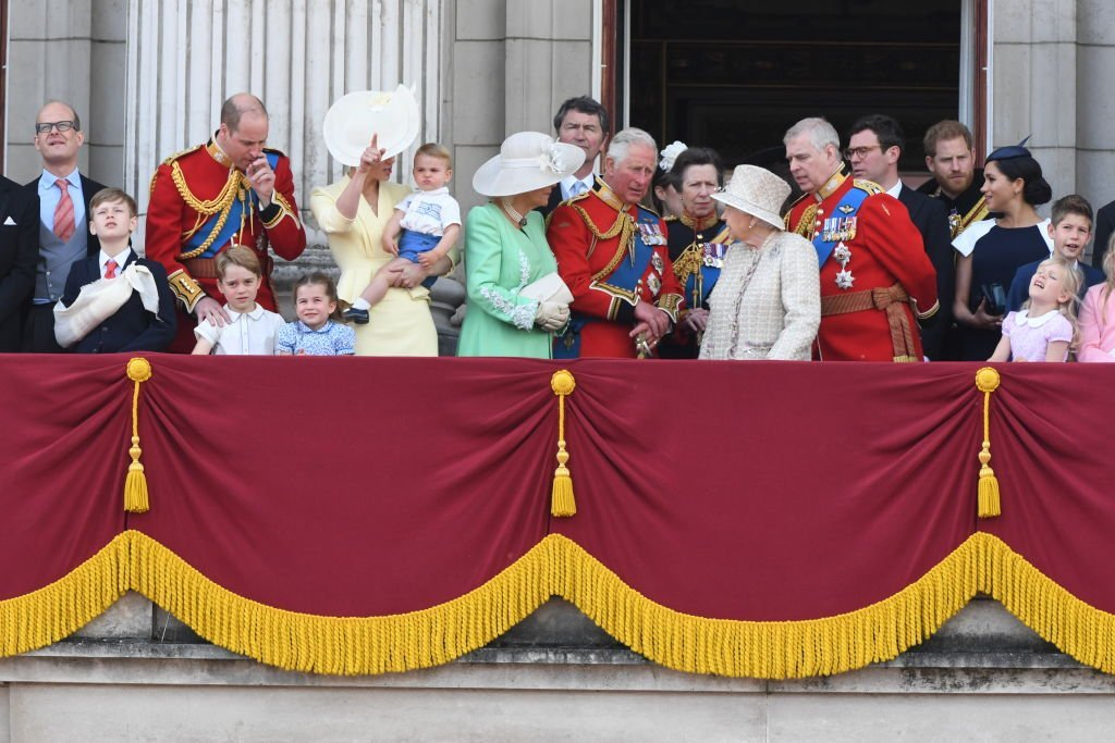 Prince William, Kate Middleton, Prince Louis, Prince George, Princess Charlotte, Camilla, Duchess of Cornwall, Prince Charles, Princess Anne, Queen Elizabeth, Prince Andrew, Prince Harry, Meghan Markle, stand on the balcony of Buckingham Palace for Trooping the Colour, on June 08, 2019, in London, England | Source: Getty Images (Photo by Anwar Hussein/WireImage)