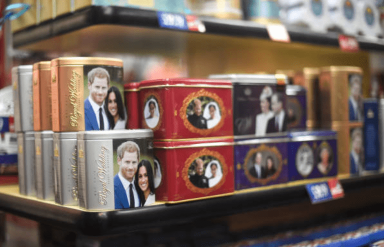 Merchandise in for the royal family featuring Prince Harry Meghan Markle on sale in a store, on January 14, 2020, in London, England | Source: Peter Summers/Getty Images