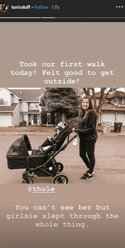 Tori Roloff holds a double stroller as she takes a stroll with her children, Lilah and Jackson | Source: instagram.com/toriroloff