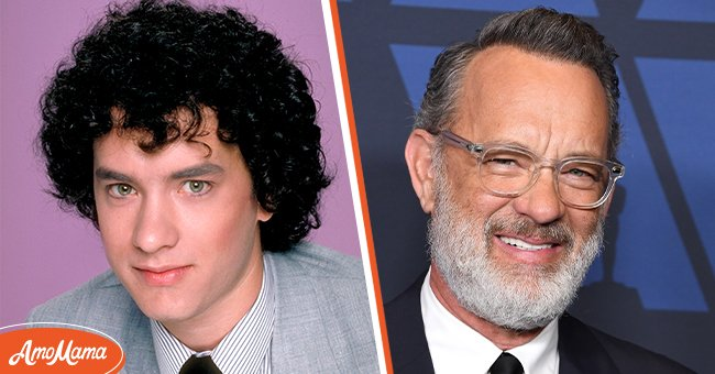 Left: Tom Hanks during the season 1 of Bosom Buddies, in 1980. Right:  Tom Hanks arrives at the Academy Of Motion Picture Arts And Sciences' 11th Annual Governors Awards at The Ray Dolby Ballroom at Hollywood & Highland Center on October 27, 2019 in Hollywood, California. | Source: Getty Images