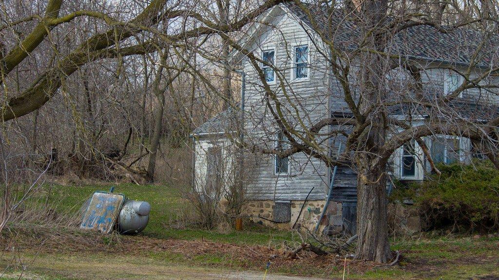 Casa vieja con árboles secos.| Imagen: Flickr