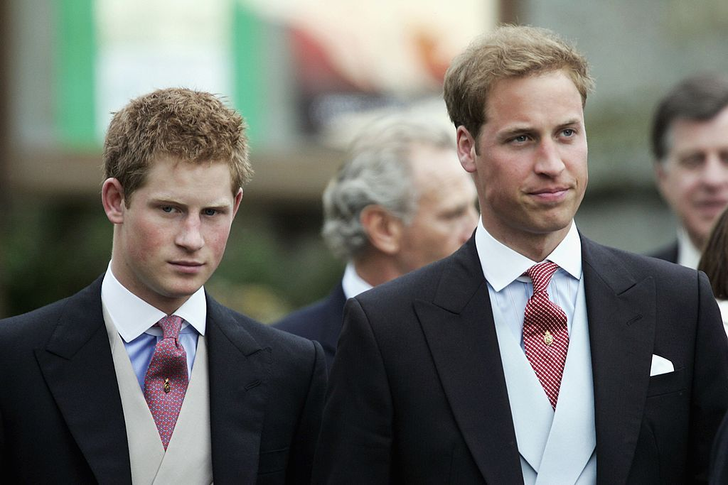 Prince William and Prince Harry attend the marriage of their step-sister Laura Parker-Bowles and Harry Lopes at St Cyriac's Church, Lacock, on May 6, 2006 in Wiltshire, England.   Photo: Getty Images
