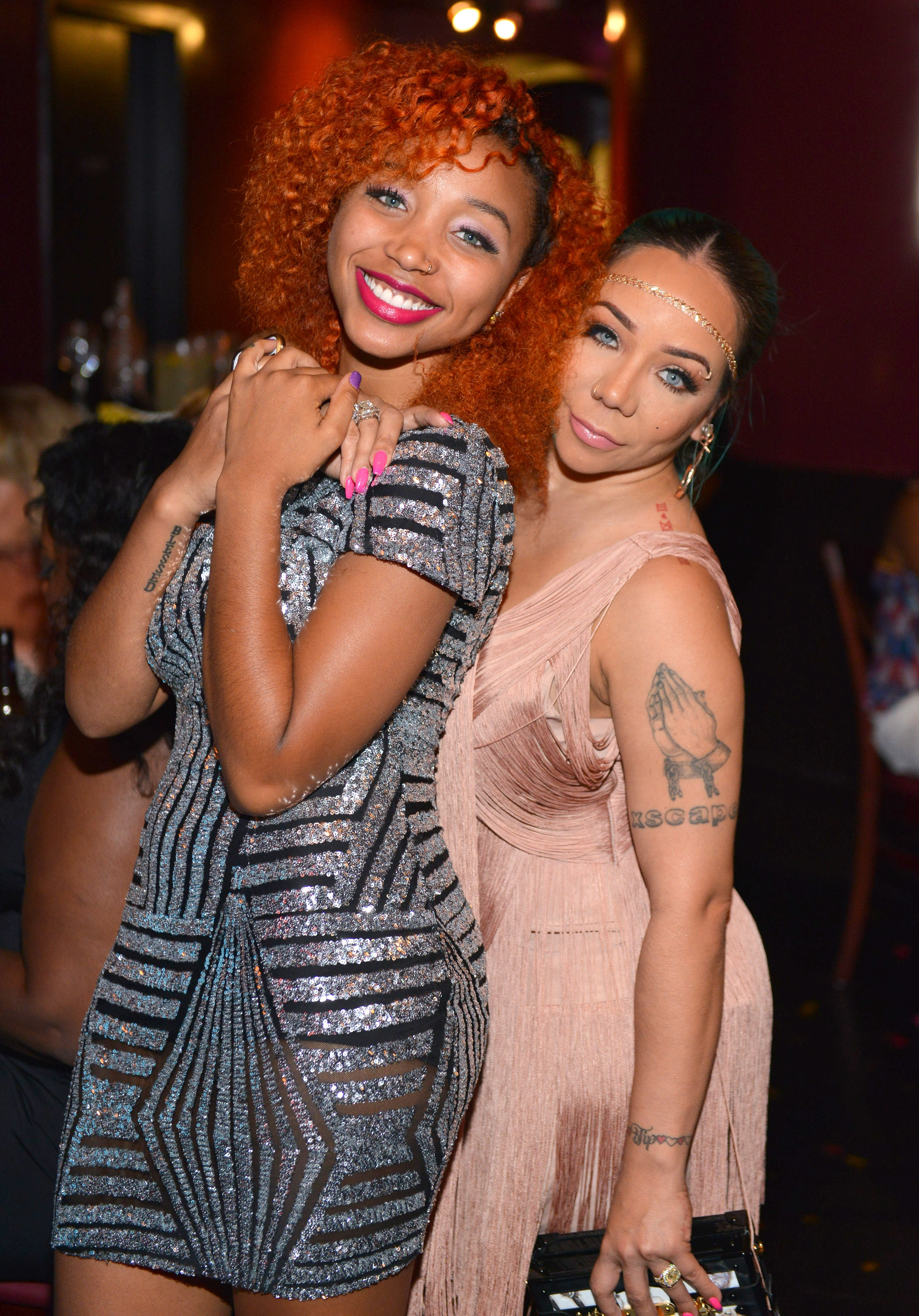 "Zonnique Pullins and Tameka ""Tiny"" Harris pictured at Scales 925 Restaurant on July 14, 2015 in Atlanta, Georgia. 