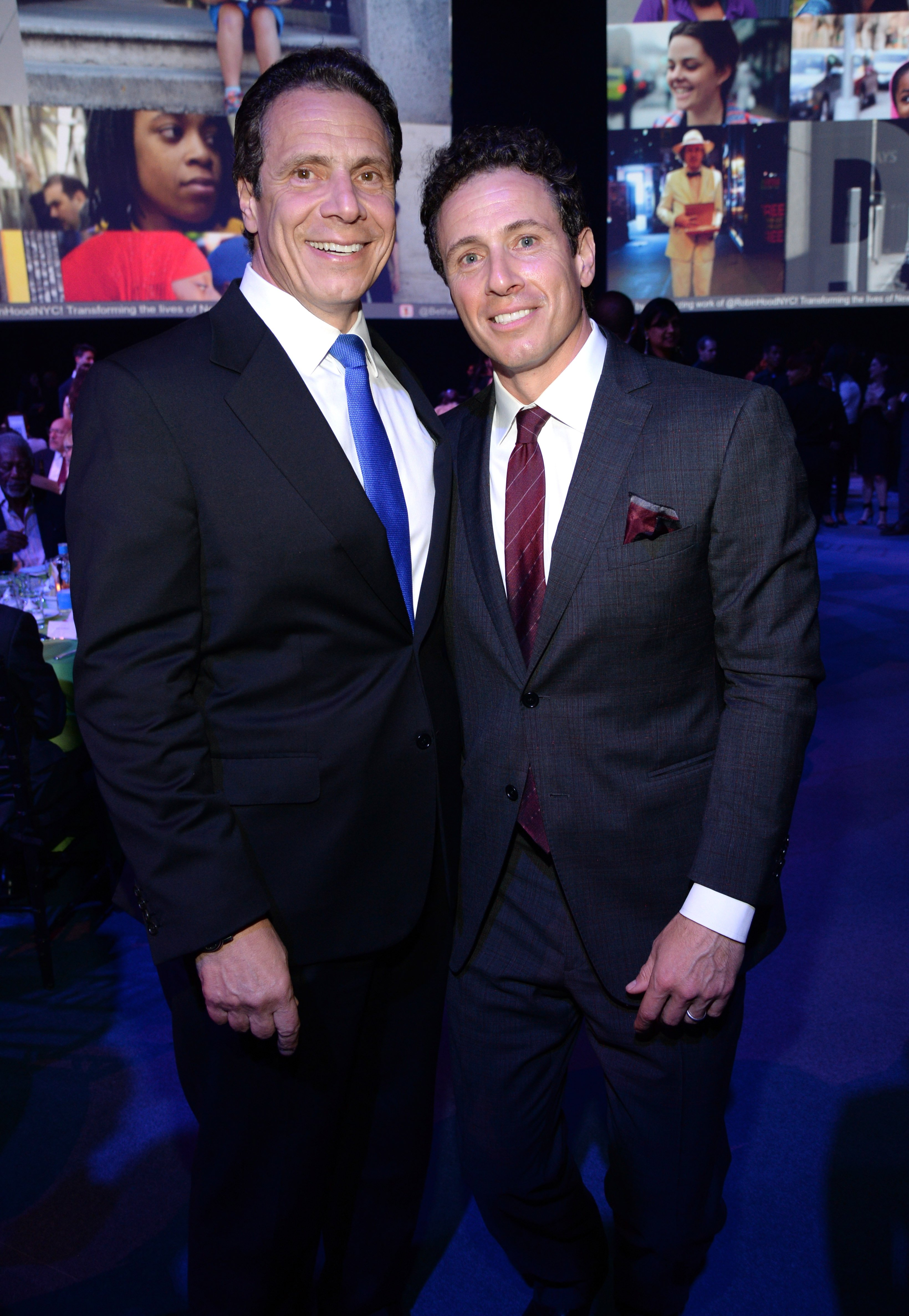 New York Governor Andrew Cuomo and Chris Cuomo attend The Robin Hood Foundation's 2015 Benefit on May 12, 2015, in New York City. | Source: Getty Images.
