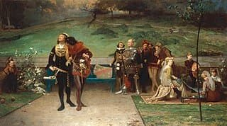 1872 painting by artistMarcus Stonedepicting Edward II with Piers Gaveston | Public Domain