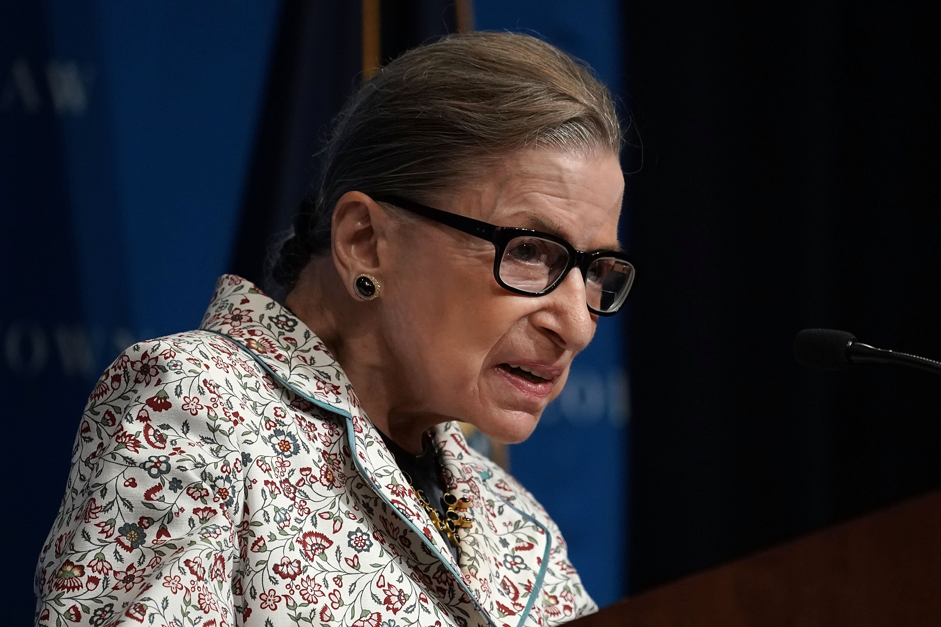 Supreme Court Justice Ruth Bader Ginsburg participates in a lecture on September 26, 2018, in Washington, DC. | Source: Getty Images.