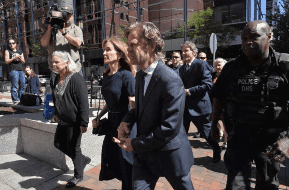 Felicity Huffman and William H. Macy arrive for Huffman's sentencing for her role in the college admissions scandal, at the John Moakley U.S. Courthouse, on September 13, 2019, Boston | Source: Getty Images