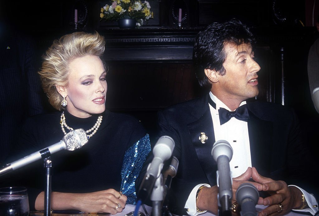 Image Source: Getty Images/ Global Images | Sylvester Stallone and Brigitte Nielsen attend a ceremony by Hasty Pudding Theatrical Group