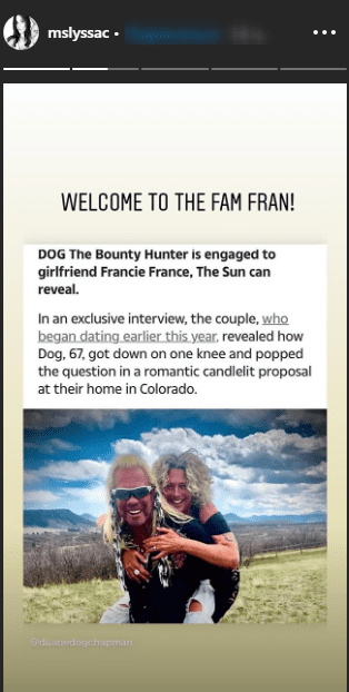 Lyssa Chapman congratulates her father Duane Chapman and his girlfriend Francie Frane on their engagement. | Source: InstagramStories/mslyssac.