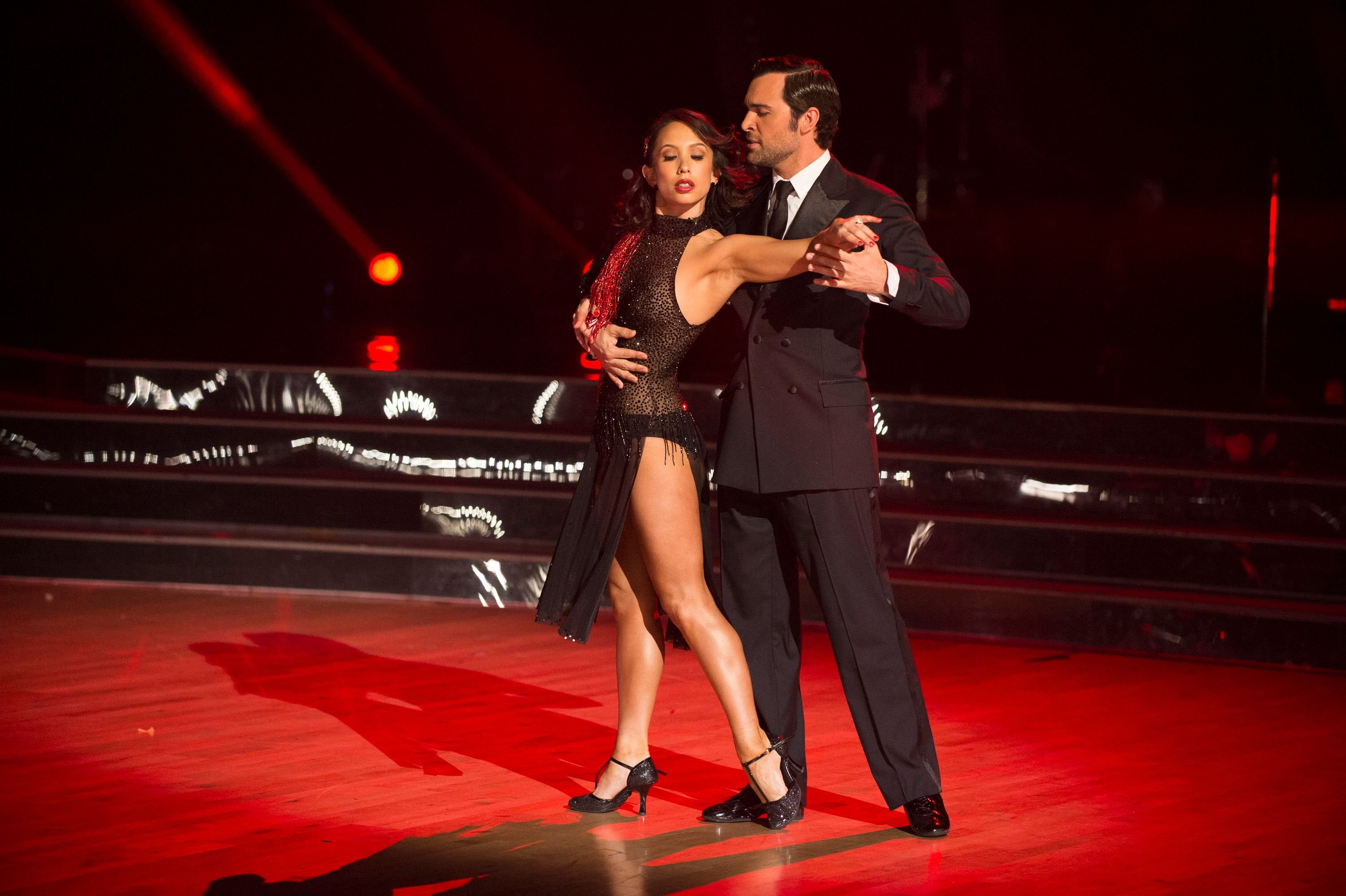 """Cheryl Burke and Juan Pablo di Pace during the season 27 finale of """"Dancing with the Stars""""  on November 19, 2018. 