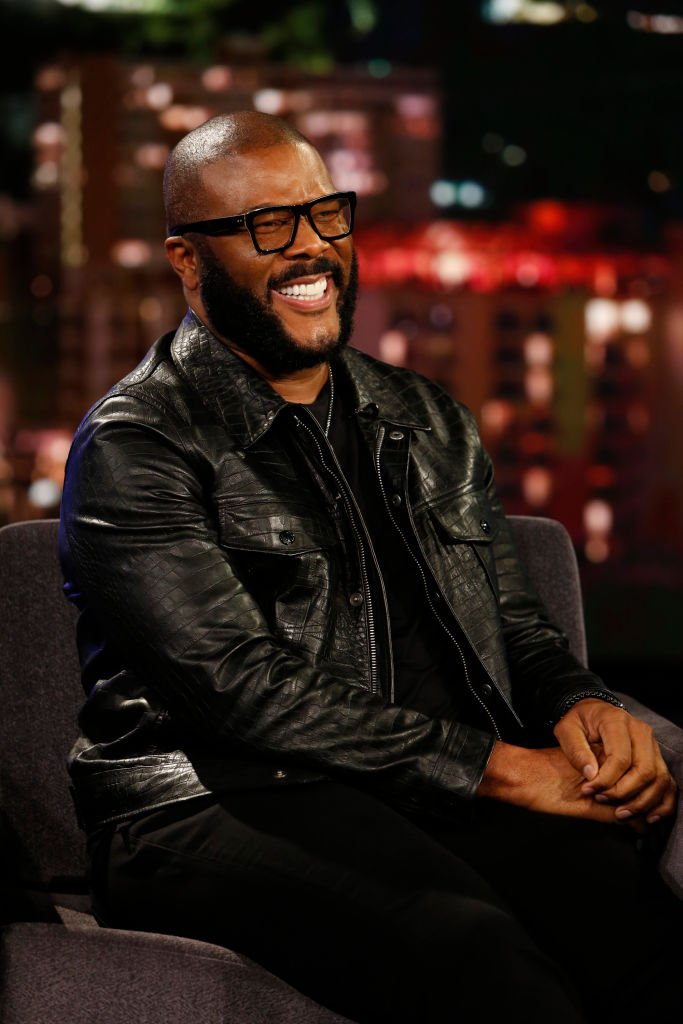 "Tyler Perry during his 2019 TV guesting in ""Jimmy Kimmel Live!"" at ABC. 