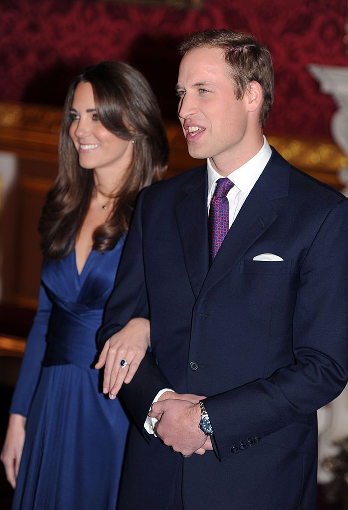 Prince William and Catherine Middleton at State Apartments of St James Palace as they announce their engagement on November 16, 2010 in London, England. | Source: Getty Images