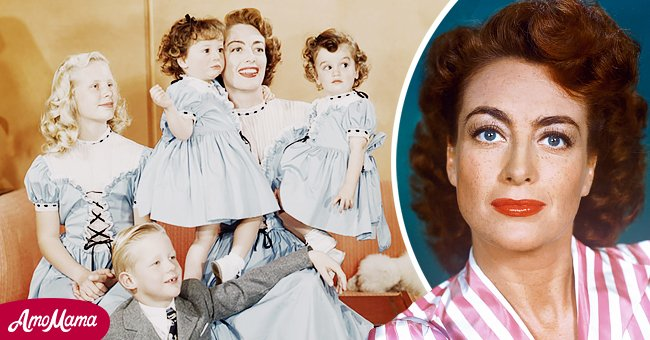 American actress Joan Crawford (1905 - 1977) with her daughter Christina (left), her son Christopher (1943 - 2006, left) and her adopted, identical twin daughters, Cindy and Cathy, circa 1949.   Source: Getty Images