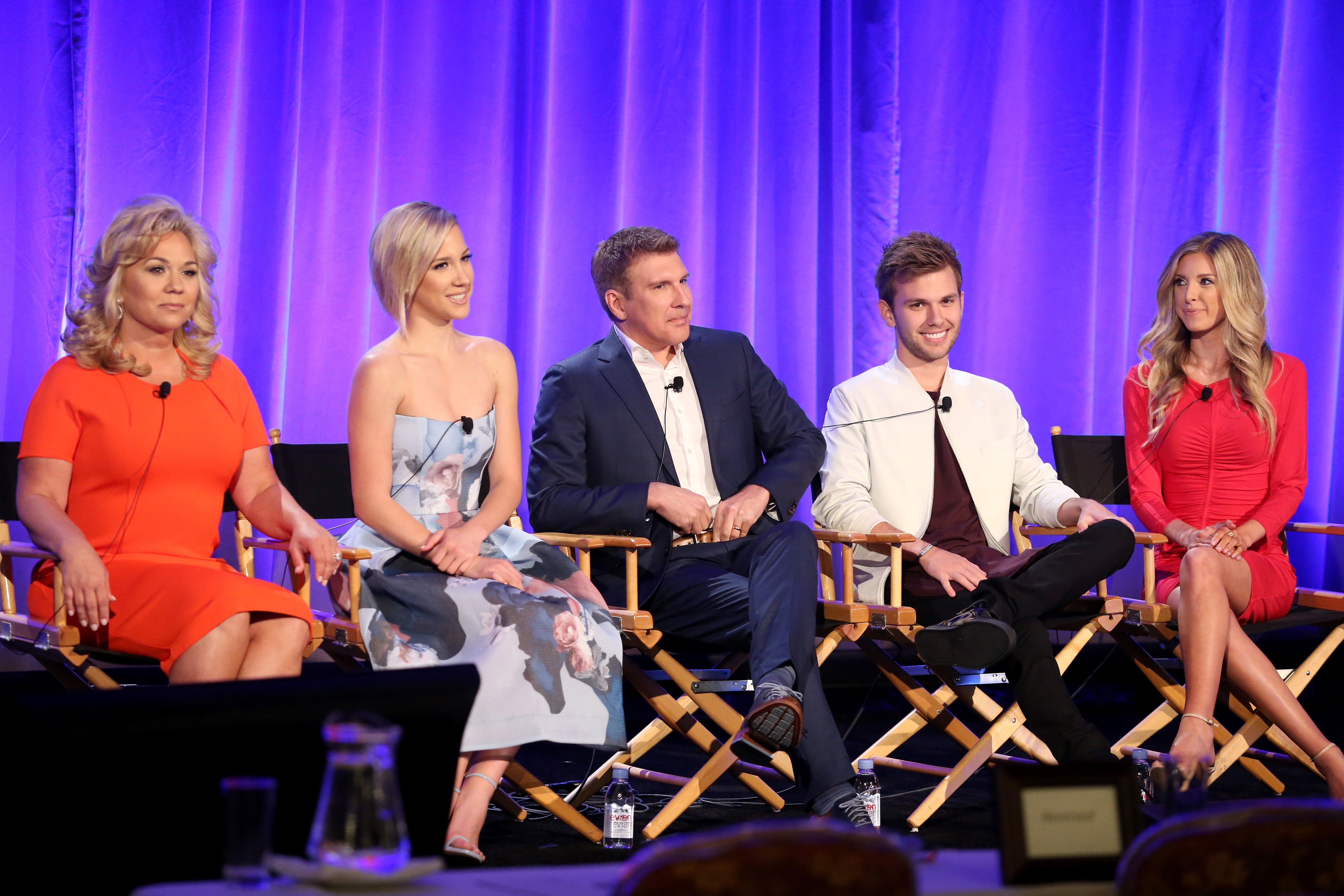 TV personalities Julie, Savannah, Todd, Chase, and Lindsie Chrisley during the 'Chrisley Knows Best' panel at the 2016 NBCUniversal Summer Press Day on April 1, 2016 in Westlake Village, California.   Source: Getty Images