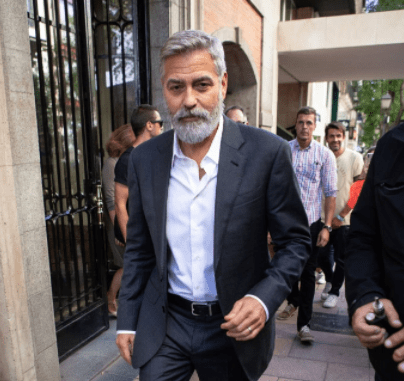Actor George Clooney is seen leaving the set filming of 'Nespresso' TV spot on September 24, 2019 in Madrid, Spain. | Source: Getty Images