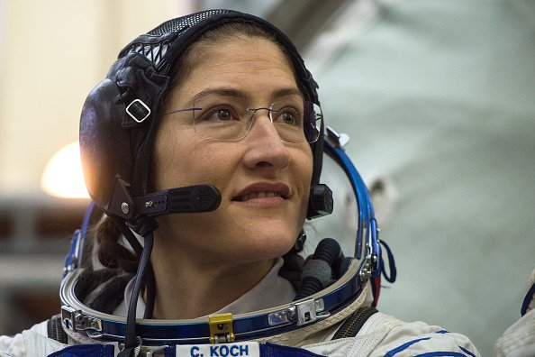 NASA astronaut Christina Hammock Koch, a member of the International Space Station (ISS) expedition 59/60, attends her final exam at the Gagarin Cosmonauts' Training Centre in Star City outside Moscow   Source: Getty Images