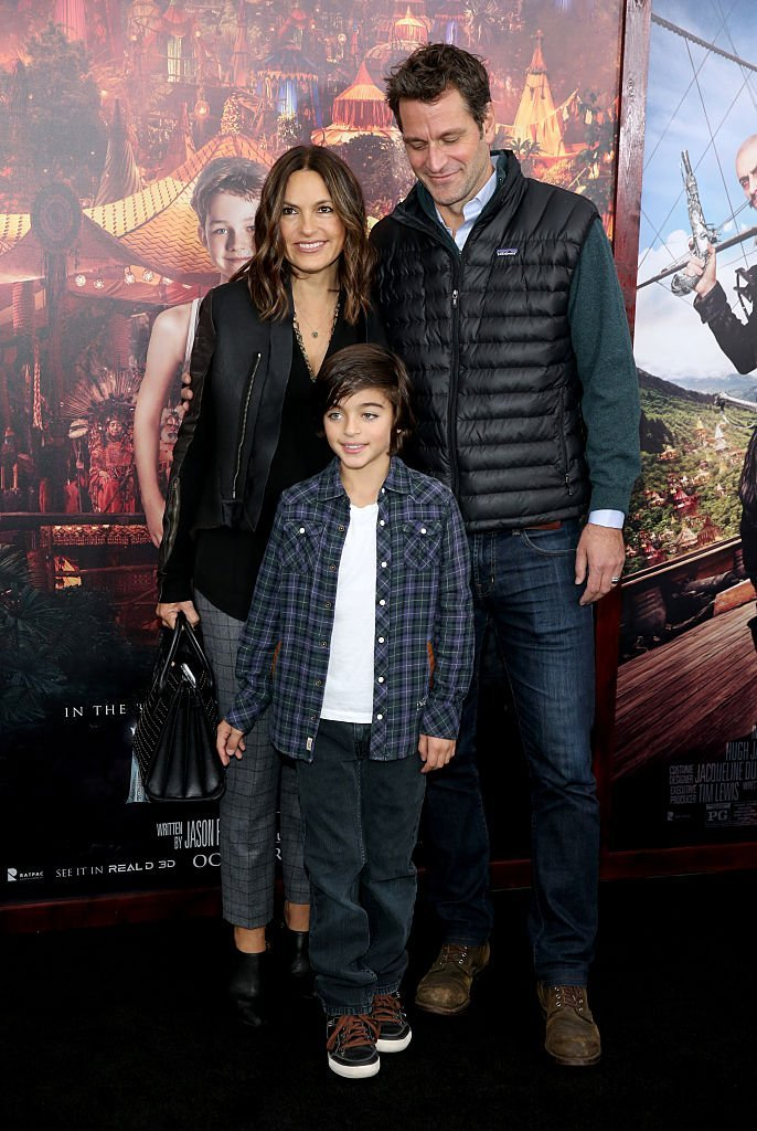 "Mariska Hargitay, Peter Hermann and their son August Miklos Friedrich attend the premiere of ""Pan"" in New York City on October 4, 2015 