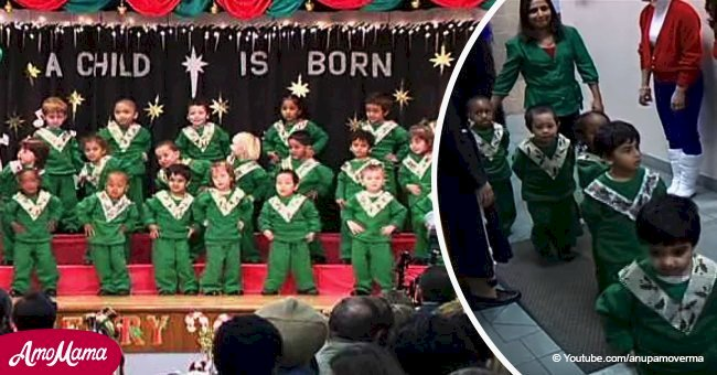 Kids line up for Christmas recital and steal the show the second they start to shake