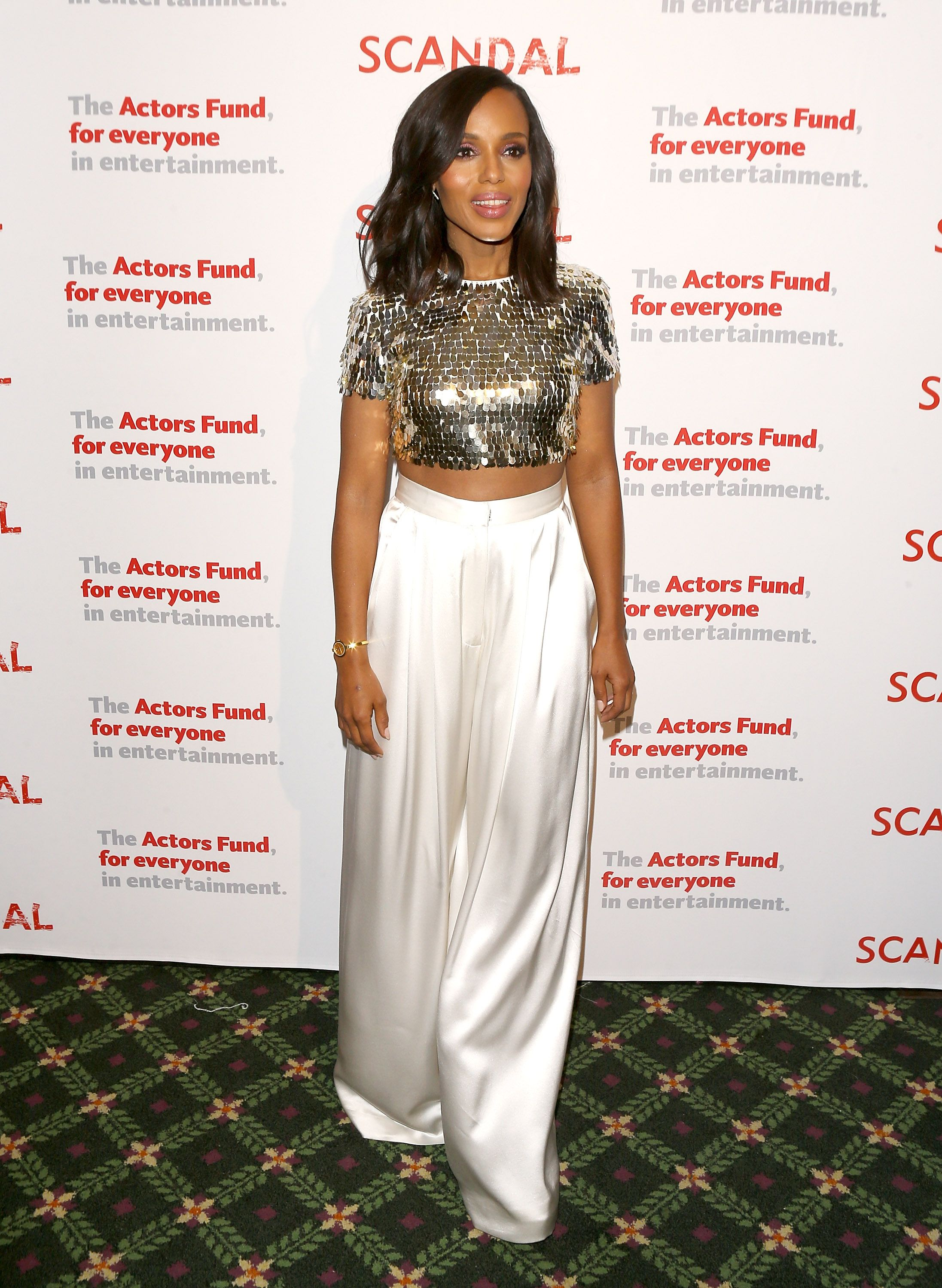 Kerry Washington arrives to the Scandal live stage reading of series finale to Benefit The Actors Fund held at El Capitan Theatre on April 19, 2018 in Los Angeles, California. | Source: Getty Images