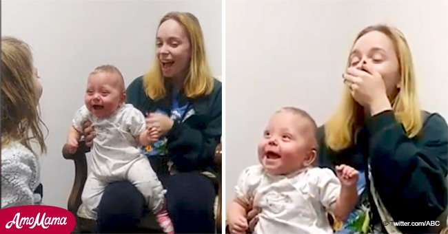 Mom brought to tears as baby daughter laughs after hearing sister's voice for the first time
