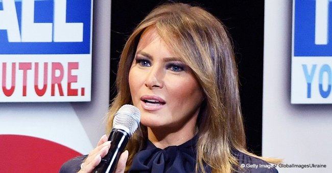 Melania Trump Flaunts Her Model Legs in Navy Blue Dress during 'Be Best' Tour in Las Vegas