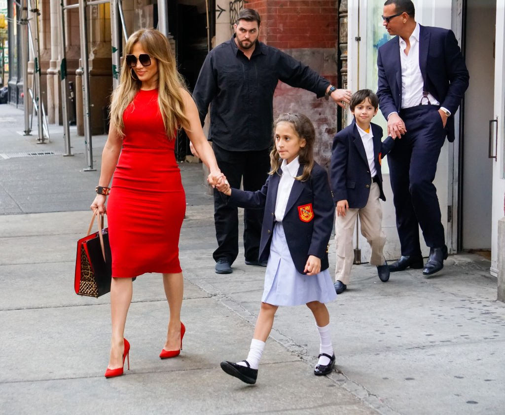 Singer Jennifer Lopez and daughter Emme and Alex Rodriguez and Maximilian Muniz are see outside ABC Kitchen on September 26, 2017. | Photo: Getty Images