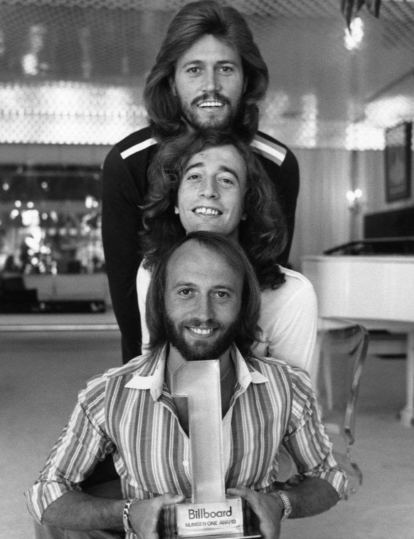 "Bee Gees' publicity photo for the television special ""Billboard #1 Music Awards"" in 1977 