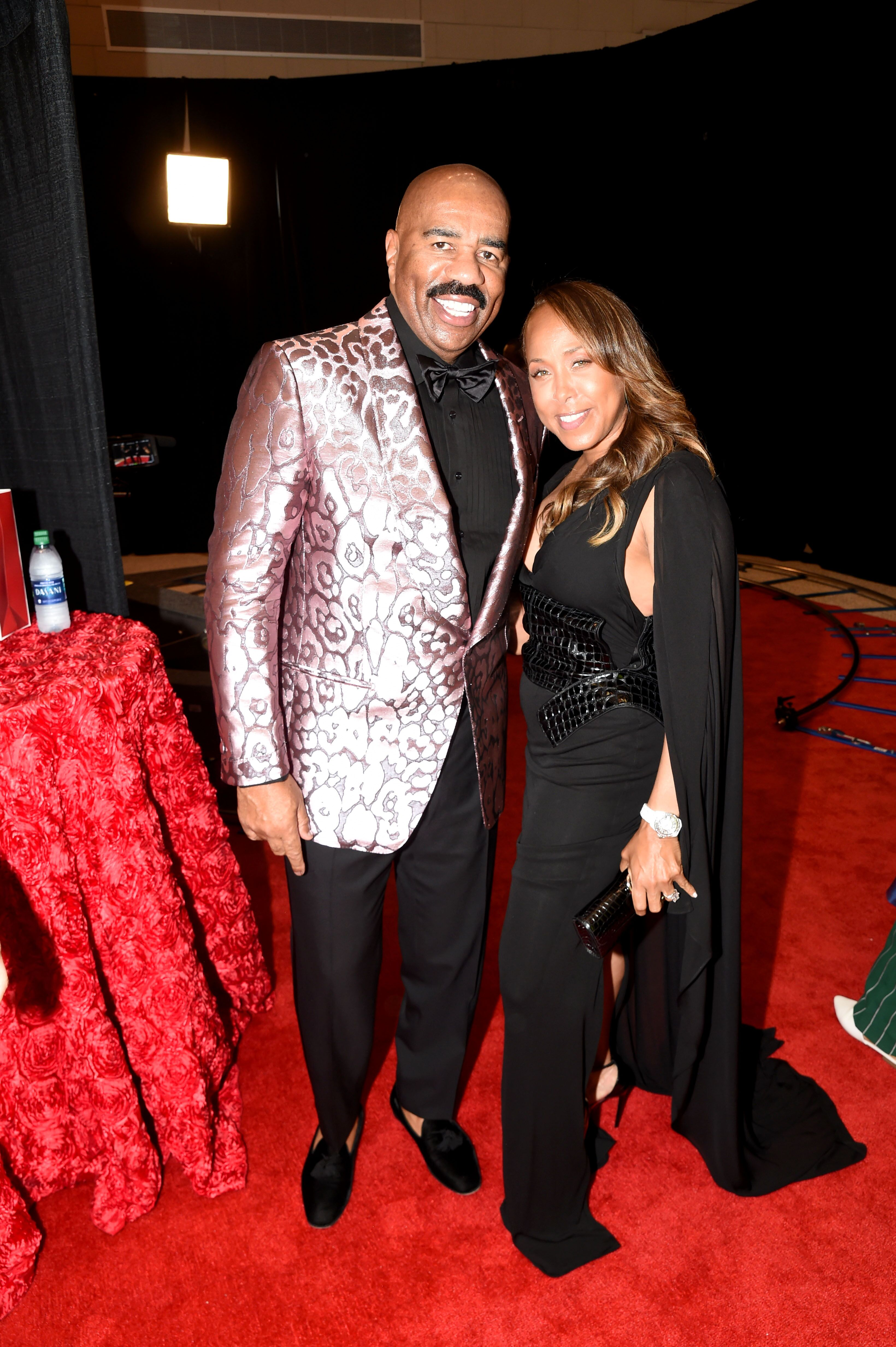 "Steve and Marjorie Harvey backstage at the ""Steve Harvey Show"" in 2019/ Source: Getty Images"