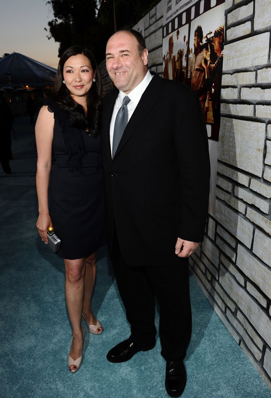"Deborah Lin and James Gandolfini attend the premiere of ""Cinema Verite."" 
